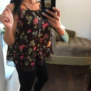 Disney Laura Conrad brown lace floral bird blouse